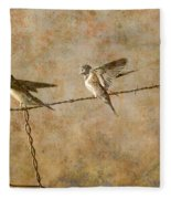 Barn Swallows On Barbed Wire Fence Fleece Blanket