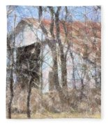 Barn Through Trees Fleece Blanket