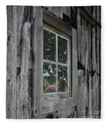 Barn Window Reflection Fleece Blanket