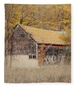 Barn With Autumn Leaves Fleece Blanket