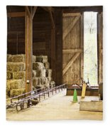Barn With Hay Bales And Farm Equipment Fleece Blanket