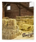 Barn With Hay Bales Fleece Blanket
