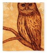 Barred Owl Coffee Painting Fleece Blanket