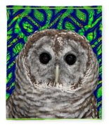 Barred Owl In A Fractal Tree Fleece Blanket