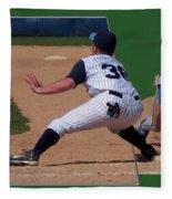 Baseball Pick Off Attempt 02 Fleece Blanket