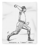 Baseball Pitching, 1889 Fleece Blanket