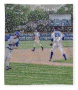 Baseball Runner Heading Home Digital Art Fleece Blanket