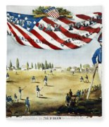 Baseball Song Sheet, 1860 Fleece Blanket