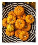 Basket Full Of Small Pumpkins Fleece Blanket