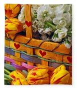Basket Of Spring Flowers Fleece Blanket