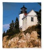Bass Harbor Light Acadia National Park Maine Fleece Blanket