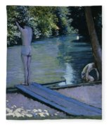Bather About To Plunge Into The River Yerres Fleece Blanket