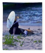 Bather By The Bay - Square Cropping Fleece Blanket
