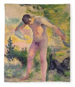 Bather Drying Himself At St Tropez Fleece Blanket