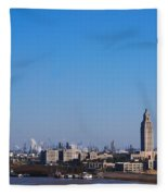 Baton Rouge Skyline Louisiana  Fleece Blanket