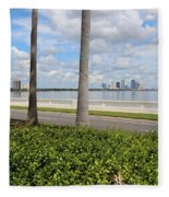 Bayshore Through Palms Fleece Blanket