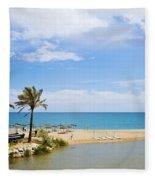 Beach And Sea On Costa Del Sol Fleece Blanket