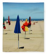 Beach In Deauville Fleece Blanket