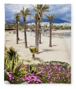 Beach In Puerto Banus Fleece Blanket