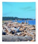 Beach Of Logs Fleece Blanket