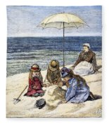 Beach Scene, 1879 Fleece Blanket