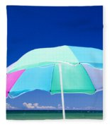 Beach Umbrella At The Shore Fleece Blanket