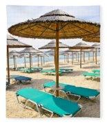 Beach Umbrellas On Sandy Seashore Fleece Blanket