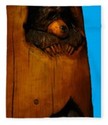 Bear In Log Fleece Blanket