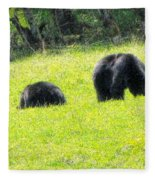 Bears In A Peaceful Meadow1 Fleece Blanket