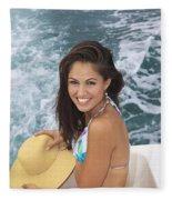 Beautiful Girl Boating Fleece Blanket