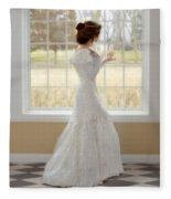 Beautiful Lady By Window Fleece Blanket