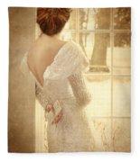 Beautiful Lady In Sequin Gown Looking Out Window Fleece Blanket