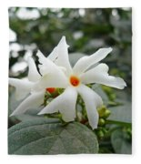 Beautiful White Flower With Orange Center Fleece Blanket