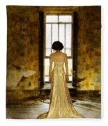 Beautiful Woman In Lace Gown In Abandoned Room Fleece Blanket