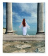 Beautiful Woman In White Fleece Blanket