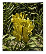 Beautiful Yellow Flowers Inside The National Orchid Garden In Si Fleece Blanket