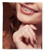 Beautiful Young Smiling Woman Mouth Fleece Blanket