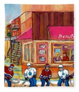 Beauty's Restaurant-montreal Street Scene Painting-hockey Game-hockeyart Fleece Blanket