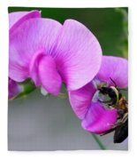 Bee In The Pink - Greeting Card Fleece Blanket