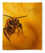 Bee On Squash Flower Fleece Blanket