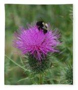 Bee On Thistle Fleece Blanket