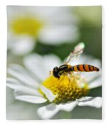Bee With Rainbow Wings Fleece Blanket