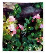 Begonias By Stone Wall Fleece Blanket