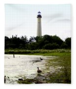 Behind The Cape May Lighthouse Fleece Blanket
