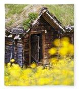Behind Yellow Flowers Fleece Blanket