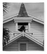 Bell Tower In Black And White Fleece Blanket