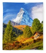 Below The Matterhorn Fleece Blanket