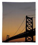 Ben Franklin Bridge Sunrise Fleece Blanket