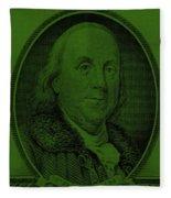 Ben Franklin In Dark Green Fleece Blanket