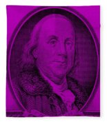 Ben Franklin In Purple Fleece Blanket